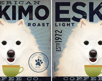 American Eskimo Eskie Dog Coffee company illustration on gallery wrapped canvas by Stephen Fowler