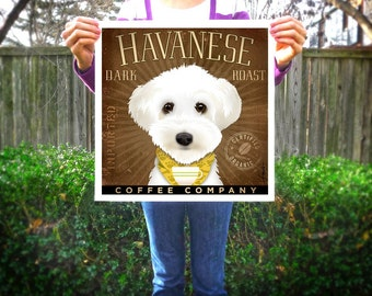 Havanese dog Coffee Company original graphic illustration giclee archival signed artist's print by Stephen Fowler Pick A Size