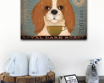 Cavalier King Charles dog Coffee Company graphic art on gallery wrapped canvas Three COLOR OPTIONS