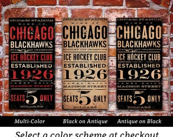 CHICAGO BLACKHAWKS hockey club original graphic art on canvas by stephen fowler