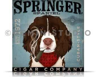 Springer Spaniel dog cigar company graphic art on gallery wrapped canvas by stephen fowler