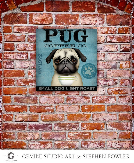 PUG Coffee Company original illustration graphic artwork on gallery wrapped canvas by stephen fowler