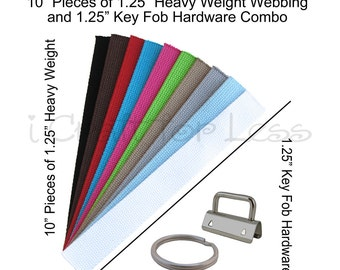 25 - 10 Inch Pieces of Heavy Weight Cotton Webbing and 25 Key Fob Hardware Combo - 1.25 Inch - Plus Instructions - SEE COUPON