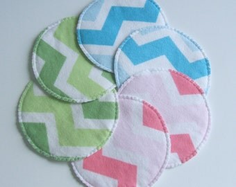 Cloth Nursing Pads, Pink, Blue, Green Chevron Print and White, Reversable Cloth Breast Pads, Washable and Reusable