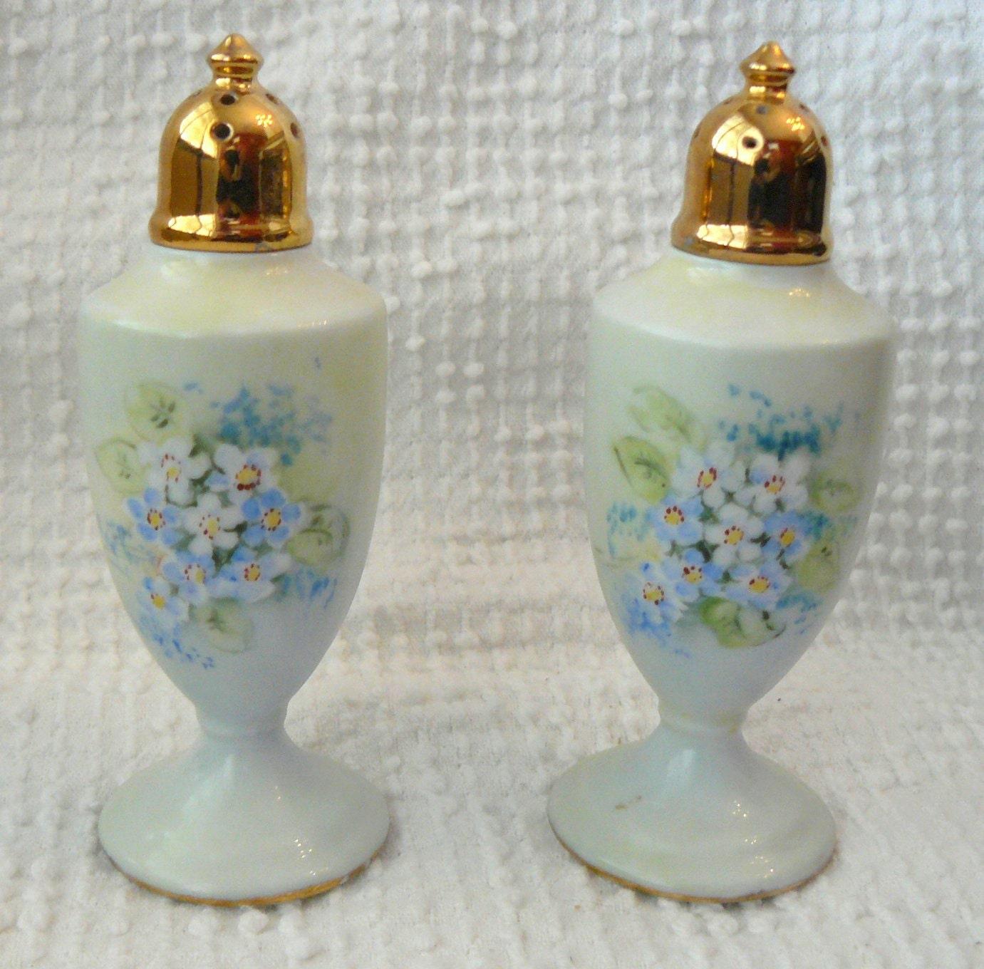 Vintage Salt And Pepper Shakers Light Blue Porcelain With