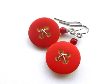 Bright Scarlet Red and White Vintage Button Earrings