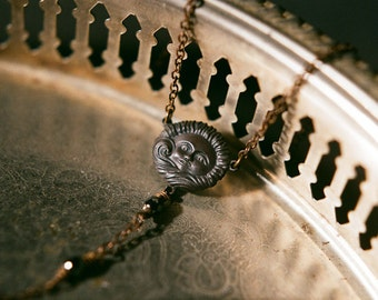 Splendor Solis - alchemical sun symbol necklace in blackened brass