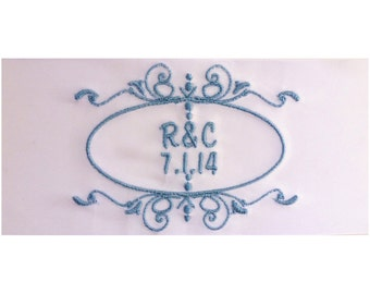 Rebecca Embroidered Personalized Satin Ribbon Wedding Gown Label