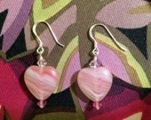 Valentine Pink Swirl Swarovski Crystal Heart Earrings- Whole Lotta Love