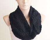 Infinity Scarf. Loop Scarf ..Fabric knitting ... Coal Black Black Scarf