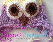 Purple Baby Owl Ear Flap Hat Hand Made Newborn Infant Size