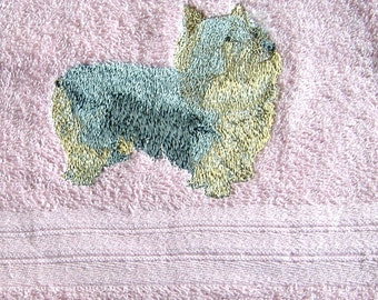 Silky Terrier Dog Embroidered Hand Towel