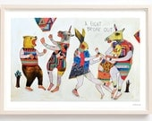 Art, Animals, Trees, Pattern, Unicorns, Bear, Quirky, Humor, Unique art, Folk Art, A Fight Broke Out- Print on Fine Art Paper