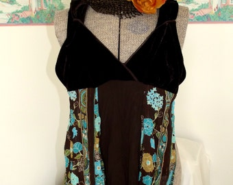 Gypsy Camisole Top, Tribal Brown, Turquoise, Boho, Altered Couture, Festival, Cowgirl Chic, Teen