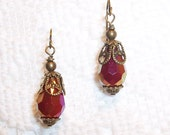 Half Price SALE - Red Luster Victorian Style Dangle Earrings
