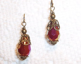 Sale - Red Luster Victorian Style Dangle Earrings