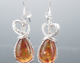 Handcrafted Sterling Silver Baltic Amber Wire Wrapped Earrings