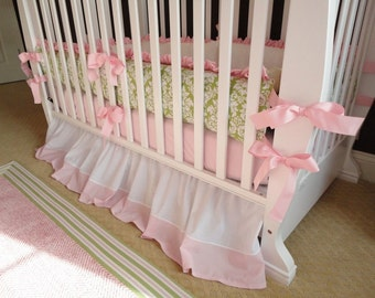 Custom Pink and Green Damask Nursery 2-Piece Boutique Crib Bedding Set with Pink satin Ruffle