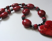 Black and Red Heart Necklace, Valentine's Day