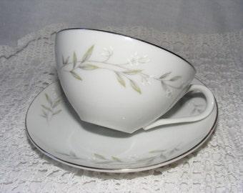 White Floral St. Regis Teacup and Saucer