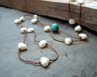 Long Pearl Layering Necklace Chocolate Brown Turquoise Gifts Under 60 Boho Chic Bohemian Statement Jewelry Silk Necklace Fall Fashion