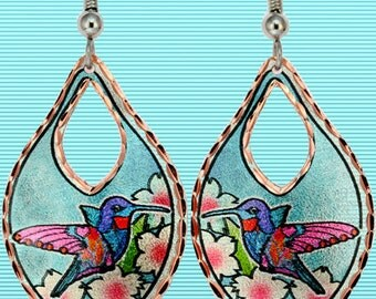 Hummingbird Flower Earrings Artwork Jewelry Blue
