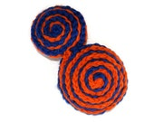 The Whirlpool Hand Knit Brooch in Cobalt Blue and Bright Orange