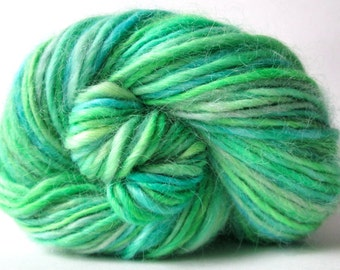 Handspun Yarn – Hand Dyed Wensleydale Wool – DK Weight Singles Yarn – Bright Green and Turquoise – 130 Yards