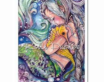Seahorse and Mermaid hugs, 4x5 ART PRINT