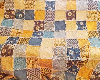 Full Rag Quilt - Blue and Yellow Quilt - Floral and Dots - Patchwork - Bed Quilt - Full Size Quilt - Floral Rag Quilt - Handmade