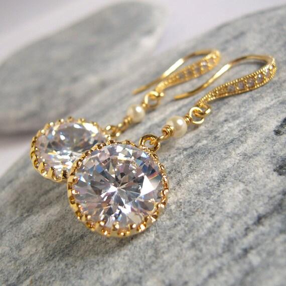Cubic Zirconia Golden Earrings, Glitter Crystal Statement Earrings, Luxury Wedding Jewelry, Earrings For Brides