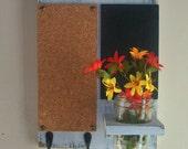 Distressed Rustic Wood Cork Board Black Board Bulletin Board Message  Center