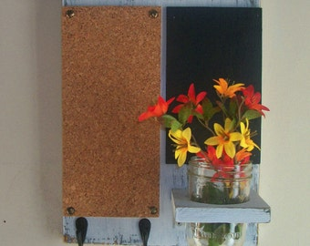 Distressed Rustic Wood Cork Board Black Board Bulletin Board Message  Center