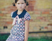 Retro 1970s Style Navy blue and Pink Print Square collar  dress childrens child clothing