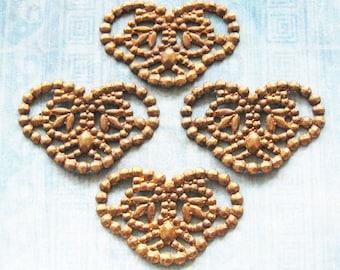 Antique Brass Heart Filigree Jewelry Finding Lot Art Doll Butterfly Moth Fairy Wing Pendant Embellishment Hardware