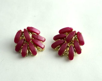 Vintage Magenta and Gold Clip Earrings