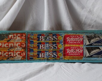 Vintage British Chocolate Candy Bars Shop Advertising Display Sign 1950's Mid Century Modernist Retro