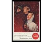 Coca-Cola Bubbles Couples 1950s Vintage Advertising Restaurant Kitchen Wall Art Decor E202