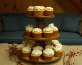 Cupcake or Pastry Stand (Tower / Holder) Three (3) Tier for Wedding, Birthday, Anniversary, Party or Special Event - Rustic Wood Wooden