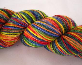 Merino, Nylon and Stellina Sock Yarn-Fingering Weight-Hand Dyed Superwash-100 grams