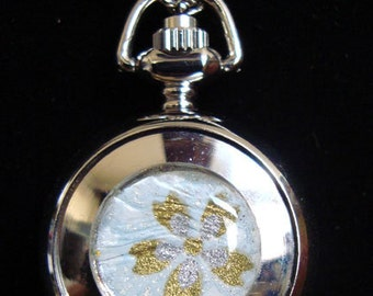 Necklace Pendant Watch Golden Cherry Blossom