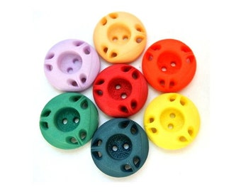 SALE-42 Antique vintage plastic  buttons flower image design  7 colors 18mm, RARE