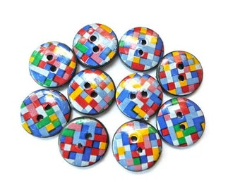 10 Plastic buttons colorful squares design 15mm, new