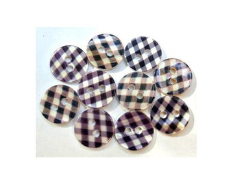 10 Shell buttons sqwares pattern in white and black 11.5mm GREAT for button jewelry
