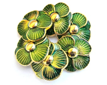 6 Vintage buttons, green flower shape enamel metal 35mm