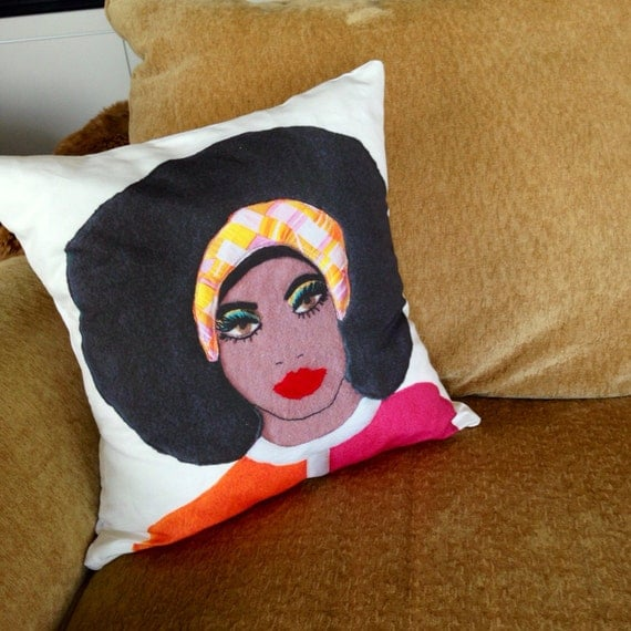 afro girl face portrait mod home art pillow cover