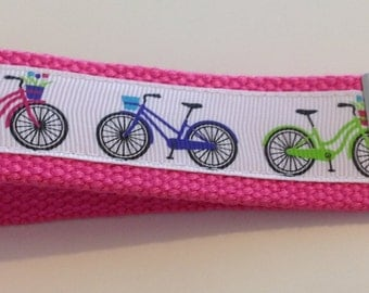Pink Bicycle Key Fob, Key Chain