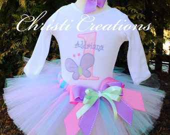 1st Birthday Girl Outfit - Birthday Tutu - Butterfly Birthday Party - First Birthday Tutu - Butterfly Garden Party