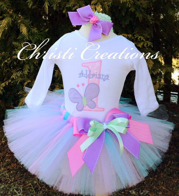 Baby Girl 1st Birthday Tutu Outfit Butterfly Birthday Party