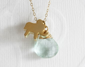 Gold Elephant Necklace With Aquamarine Quartz, March Birthstone